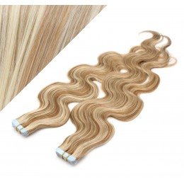 """24"""" (60cm) Tape Hair / Tape IN human REMY hair wavy - mixed blonde"""
