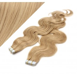 """24"""" (60cm) Tape Hair / Tape IN human REMY hair wavy - natural blonde / light blonde"""