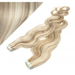 """24"""" (60cm) Tape Hair / Tape IN human REMY hair wavy - platinum / light brown"""