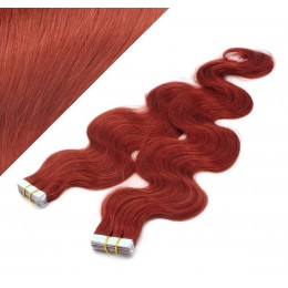 "24"" (60cm) Tape Hair / Tape IN human REMY hair wavy - copper red"