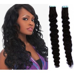 24˝ (60cm) Tape Hair / Tape IN human REMY hair curly - black