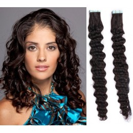 24˝ (60cm) Tape Hair / Tape IN human REMY hair curly - natural black