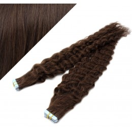 "24"" (60cm) Tape Hair / Tape IN human REMY hair curly - dark brown"