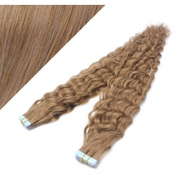 "24"" (60cm) Tape Hair / Tape IN human REMY hair curly - light brown"