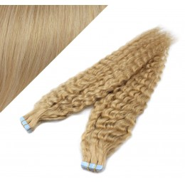 "24"" (60cm) Tape Hair / Tape IN human REMY hair curly - natural blonde"