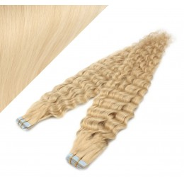 "24"" (60cm) Tape Hair / Tape IN human REMY hair curly - the lightest blonde"