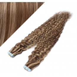 "24"" (60cm) Tape Hair / Tape IN human REMY hair curly - dark brown / blonde"