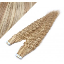 "24"" (60cm) Tape Hair / Tape IN human REMY hair curly - mixed blonde"
