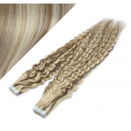 "24"" (60cm) Tape Hair / Tape IN human REMY hair curly - platinum / light brown"