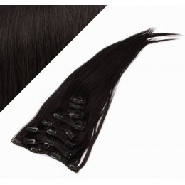 "15"" (40cm) Clip in human REMY hair 100g - natural black"