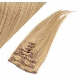 "15"" (40cm) Clip in human REMY hair 100g - light blonde/natural blonde"