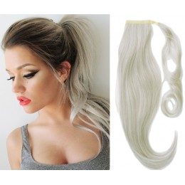 "Clip in ponytail wrap / braid hair extension 24"" straight - silver"