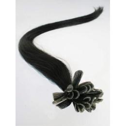 "16"" (40cm) Nail tip / U tip human hair pre bonded extensions – black"