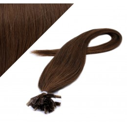 "16"" (40cm) Nail tip / U tip human hair pre bonded extensions - medium brown"