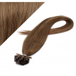 "16"" (40cm) Nail tip / U tip human hair pre bonded extensions - medium light brown"