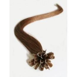 "20"" (50cm) Nail tip / U tip human hair pre bonded extensions – medium light brown"